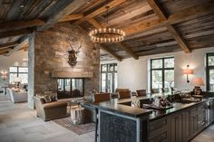 That Ceiling! And double sided fireplace.