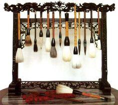 calligraphy brushes (I think these are chinese brushes not Japanese) fude. Calligraphy Tools, Japanese Calligraphy, Chinese Brush, Chinese Art, Claude Monet, Handwritten Text, Art Asiatique, Art Japonais, Mystique
