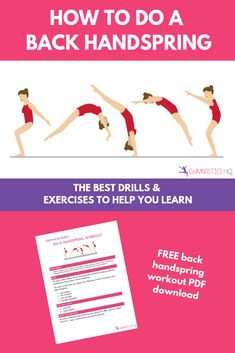 A free printable workout with drills to help you learn how to do a back handspring along with easy step by step instructions. The exercises you need to learn a back handspring Gymnastics Moves, Gymnastics Tricks, Gymnastics Training, Olympic Gymnastics, Olympic Games, Daily Exercise Routines, Exercise For Kids, Back Handspring Drills, Tumbling Tips