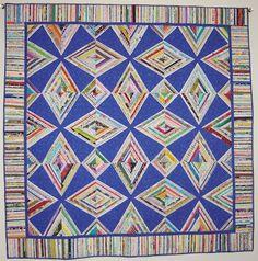 Selvage Blog: Red Zinger selvage quilt, Blue Zinger by Kathy Wilcox in Texas.