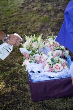 Tips for making your bouquet with Louise Avery Flowers - lightly spray the finished bouquet with water to keep fresh