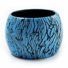 Oversized Chunky Wide Wood Bangle (Black & Bright Blue) Avalaya. $16.20. Occasion: casual wear, cocktail party. Collection: wooden. Material: wood. Wear On: wrist. Type: chunky Plus Size Beach Wear, Bangle Bracelets, Bangles, Casual Wear, Bright, Party Wear, Wood, How To Wear, Cocktail