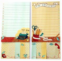 an illustrated collection of to-do lists, sticky notes and page flags by susie ghahremani from: http://shop.boygirlparty.com/products/keeping-tabs-productivity-portfolio