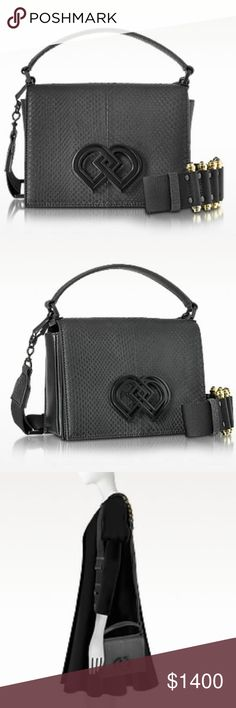 """DSQUARED2 Black Leather and Ayers Shoulder Bag Black Leather and Ayers Medium Shoulder Bag crafted in natural calfskin and Ayers snakeskin, adds an alluring element and a textured touch to your outfit perfect for an evening out on the town. Featuring flap top with magnetic snap closure, single top handle, detachable shoulder strap with gold tone hardware, single internal compartment and double-D logo on front flap. Made in Italy.  MaterialGenuine Leather Width3.94""""   10 cm Height5.51""""…"""