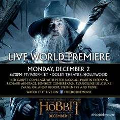 Watch 'The Hobbit: The Desolation of Smaug' World Premiere LIVE