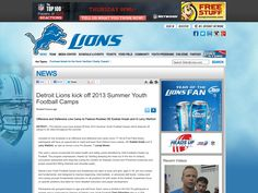 Detroit Lions kick off 2013 Summer Youth Football Camps | Pinterest Rss Feed