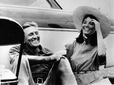 Kirk Douglas and Elsa Martinelli  in a laughing mood between scenes of The Indian Fighter