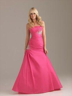 Style A-line Strapless Beading  Sleeveless Floor-length Taffeta Pink Prom Dress / Evening Dress