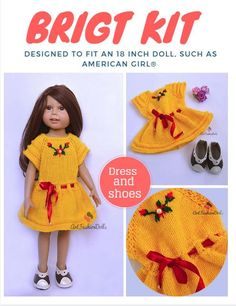 "Set Dress and Shoes 18"" Yellow Doll Dress Fit Dolls Like American Girl Journey Girl Doll Clothes Madame Alexander My Generation Doll Shoes by ArtFashionDolls on Etsy"