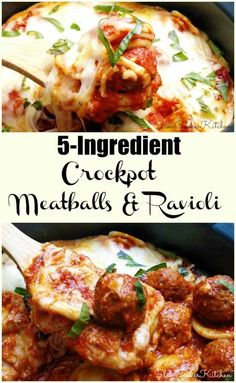 5-Ingredient Crockpot Meatball Ravioli Casserole