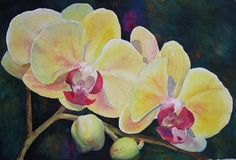 Yellow Orchids Painting  - Judy Mercer