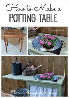 Transform an old sewing cabinet into the perfect little potting table.