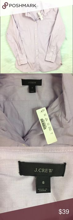 J.Crew Womens Button Down Size 8 Purple Career NWT J.Crew women's End on end long shirt in purple. Size 8. New with tags. J. Crew Tops Button Down Shirts
