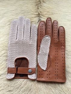 Mens Lambskin driving leather gloves, with crochet top and leather palm/ The top…