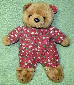 "Vintage Goodstuff Christmas TEDDY 15"" BEAR Cloth PJs Bunny Slipper Plush Doll  #Goodstuff"