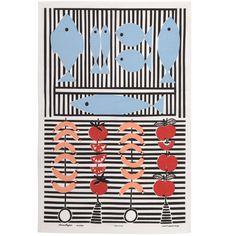 A charming tea towel celebrating the summer barbeque, designed by Louise Fougstedt in the Textile Prints, Textile Patterns, Textiles, Summer Barbeque, Barbecue, Fish Design, Al Fresco Dining, Kitchen Linens, Mid Century Design