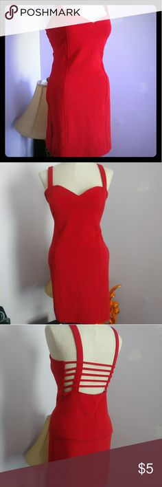 Little Red Dress Red dress with open strap backing. Stretchy material, super sexy fit! Charlotte Russe Dresses Mini