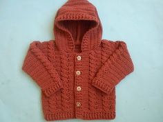 how to make Baby Crochet Cabled Cardigan Sweater - YouTube