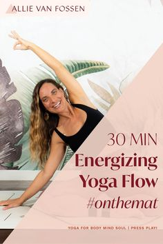 Awaken and energize your body, mind + soul with a 30 minute yoga flow! Want a pick-me-up that doesn't leave you jittery? This yoga practice enlivens your breath, taps into your endorphins and chases away fatigue and afternoon slumps, so you can continue your day from a centered, calm and grounded state. Unroll your mat yoga fam, it's time to energize your day with me! Allie, xx #yogaforenergy #energizingyogaflow #30minpoweryoga #allievanfossen Yoga Inversions, Vinyasa Yoga, Yoga Arm Balance, 30 Minute Yoga, Free Yoga Classes, Gentle Yoga, Advanced Yoga, Yoga For Flexibility, Yoga At Home