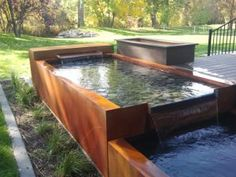 Visit the post for more. Pool Fountain, Waterfall Fountain, Cascade Water, Pocket Park, Weathering Steel, Privacy Walls, Water Walls, Garden Pool, Garden Water