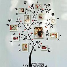 Cor Branca Colecção de fotografias Quadro Conjunto de 8 com parede árvore adesivos - BRL R$ 213,47