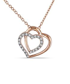 Look what I found on #zulily! Diamond & Pink Double Hearts Pendant Necklace #zulilyfinds