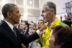 President Obama talks with Tom Grilk, Head of the Boston Athletic Association, Following the Boston Marathon Bombings