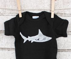 Shark Infant Onepiece, Baby bodysuit, Marine Life, Ocean, Sea Animal, fish, Black Cotton Infant Creeper, Hand Printed, Spring and Summer by CausticThreads on Etsy