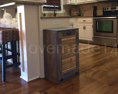 tilt out trash bin dark walnut cedar door recycle by Lovemade14