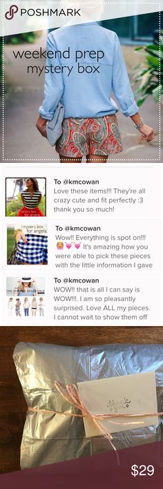 4 item MYSTERY BOX // weekend prep Treat yourself to a fun mystery box and spruce up your spring & summer wardrobe! ❤️ This box is premade due to my upcoming move and specific requests cannot be taken at this time. 4 pieces in sizes M/6. If there's anything you don't love, you can always resell for profit! Brands might include: J. Crew, Banana Republic, GAP, LOFT, Old Navy, American Eagle and more. Items will all be in great condition. Grab a box during this last chance sale and happy…