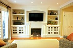 what we should do to the MH house - move fireplace and add built-ins. what we should do to the MH house – move fireplace and add built-ins… Wall Units With Fireplace, Built In Around Fireplace, Tv Above Fireplace, Fireplace Bookshelves, Fireplace Built Ins, Fireplace Design, Bookcases, Fireplace Ideas, Fireplace Mantel