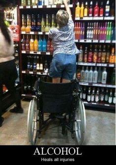 Fotos Engraçadas 18 - (Álcool - Cura todas as debilitações.)  Isso sim é força de vontade.