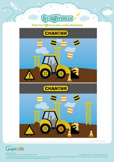 jeu des différences chantier Construction Tools, Illustrations, Diy, Pattern, Coloring Pages, Wednesday, Truck, Bricolage, Illustration