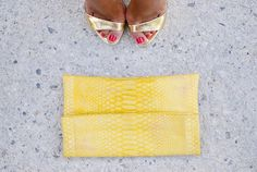 Yellow snakeskin clutch from www.londali.com as seen on mypeeptoes blog