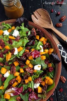 Harvest Salad with Butternut Squash, Maple Pecans, and Curry Fig Vinaigrette