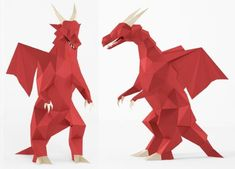 Red Dragon Decorative Low Poly Paper Model - by LaCrafta