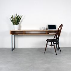 Marston Wide Console Table on Minimalist Square Legs - This sleek, minimalist desk with it's linear proportions is a practical and extra stylish piece of - Workspace Design, Home Office Design, Minimal Desk, Hypebeast, Desk Inspiration, Minimalist Office, Best Desk, Desk Setup, Office Desk