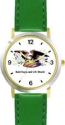 American Eagle and US Shield American Theme - WATCHBUDDY® DELUXE TWO-TONE THEME WATCH - Arabic Numbers - Green Leather Strap-Children's Size-Small ( Boy's Size & Girl's Size ) WatchBuddy. $49.95