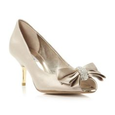 dune ladies taupe diamante and bow trimmed court shoe, dune shoes online