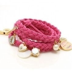 Braided velvet girly cord bracelet with gold coin detail Colors: Pink (with gold metal) Materials: Velvet Cord + Gold-plaited metals