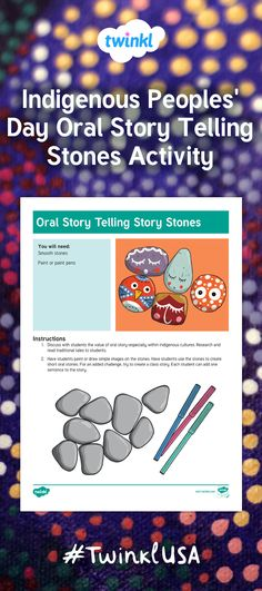 Have students create oral story telling stones in honor of Indigenous Peoples Day. Practice using traditional symbols of First Nations. Practice speaking and listening skills through oral story telling! Aboriginal Education, Indigenous Education, Aboriginal Art, Kindergarten Social Studies, Kindergarten Activities, National Aboriginal Day, Retelling Activities, Indigenous Peoples Day, Boys And Girls Club