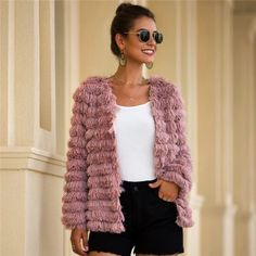 Faux Fur Open Front Solid Glamorous Warm Coat -1 #elegantoutfits #Elegantstyle #summeroutfits #summerlook #fashionintrend #womenfashion #trendystyle #Elegantlook #Goodvibesonly Fur Fashion, Look Fashion, Trendy Fashion, Fashion Outfits, Street Fashion, Coats For Women, Sweaters For Women, Stylish Winter Outfits, Fur Clothing