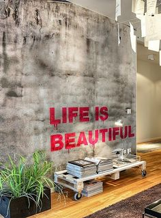Concrete wall in living room