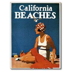 Carte postale vintage de tourisme de voyage de pla | Zazzle