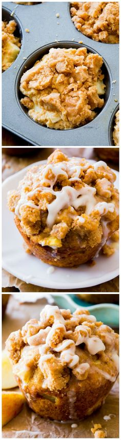 These Glazed Apple Crumb Muffins are bursting with buttery, brown sugar flavor and are topped with a sweet glaze and irresistible crumb topping.