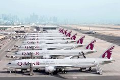 Qatar Airways line up of B 777 at Doha Aiport #doha #qatar #qatarairways