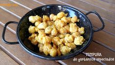 pa mojar pan!: Tempura de garbanzos especiados Tempura, Tapas, Cauliflower, Macaroni And Cheese, Gluten Free, Meals, Vegetables, Ethnic Recipes, Food