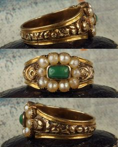 New. A Georgian turquoise & pearl ring, with deeply chased floral designs to the shank.