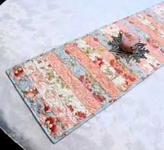 Shabby Chic Table Runner Quilt Pink And Blue By QuiltSewPieceful