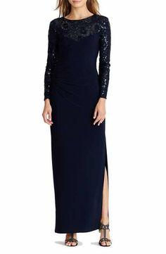 Lauren Ralph Lauren Sequin Mesh & Jersey Gown